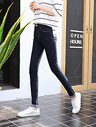 Sign new thin Slim waist pants dark blue jeans female tight stretch pants feet