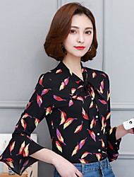 Sign spring new female long-sleeved shirt trumpet sleeves flounced chiffon shirt floral shirt with a bow tie