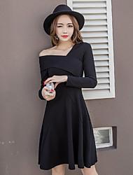 Vestido sem alças vestido 2017 novo temperamento aristocrático irregular pouco mulheres vestido preto