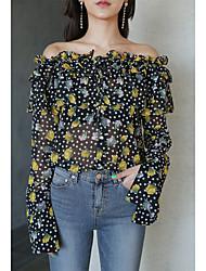 Coreano chique sexy micro perspectiva vazamento ombro padrão colarinho camisa de chifre camisa