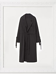 Women's Going out Boho Spring Trench Coat,Solid Notch Lapel ½ Length Sleeve Long Cotton