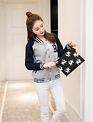 Women's Casual/Daily Sexy Cute Fall Winter Denim Jacket,Print Stand Long Sleeve Regular Cotton Pleated