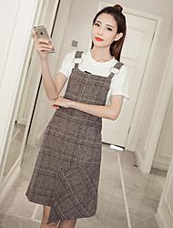 Sign in the long section woolen skirt loose Korean Women harness vest skirt strap dress new dress