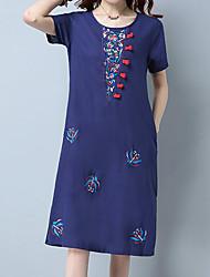 Women's Casual/Daily Simple Loose Dress,Print Round Neck Knee-length Short Sleeve Linen Summer Mid Rise Inelastic Medium