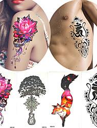 4 Pieces Flower Arm Tattoo Decal Body Art Beauty Women Life of Tree Temporary Tattoo Sticker Fake