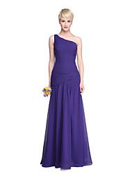 LAN TING BRIDE Floor-length One Shoulder Bridesmaid Dress - Open Back Elegant Sleeveless Chiffon