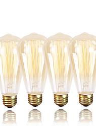 Gmy® st64 edison vintage lâmpada 220-240v 40w e27 âmbar quente branco dimmable decorativo 4pcs