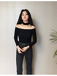 Women's Going out Casual/Daily Sexy Vintage Cute T-shirt,Solid Halter Long Sleeve Cotton