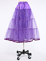 Slips Ball Gown Slip Knee-Length 2 Satin Tulle White Black Purple Red