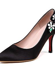 Damen-High Heels-Büro Kleid Party & Festivität-Satin-Stöckelabsatz-Club-Schuhe-Schwarz Purpur Rot Blau