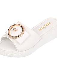 Women's Sandals Comfort Light Soles Leatherette Summer Outdoor Casual Walking Metallic toe Flat Heel White Orange Green 1in-1 3/4in
