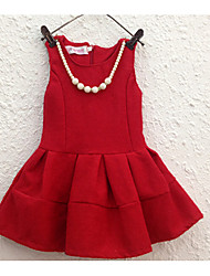 Girl's Casual/Daily Solid Dress,Cotton Winter Sleeveless