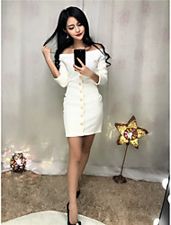 Sign sexy decorative buttons Slim word shoulder jersey dress