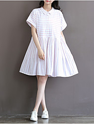 # 3661 spring and summer navy style theatrical vintage pinstripe cotton short-sleeved dress