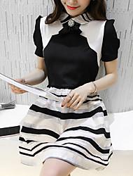 Clearance verão real verão 2017 versão coreana de organza preto e branco pequeno vento perfumado atingiu a cor de costura foi vestido fino