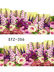10pcs/style Summer Hot Style Sweet Style Nail Art Flower Sticker  Fashion Flower Nail Water Transfer Decals Beautiful Flower Decals STZ352-359