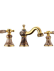 Deck Mounted Basin Faucet 3PCS Thermostatic Rain Shower Widespread with  Brass Valve Two Handles Three Holes Bathroom Faucet