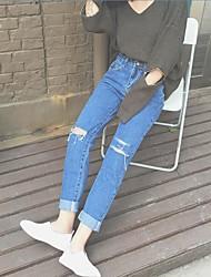 nett tiro real ~ processo de corte 2016 outono nova-coreano de cintura alta calça jeans solta joelho