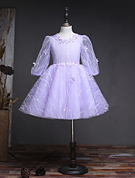 A-line Knee-length Flower Girl Dress - Lace Tulle Jewel with Beading Flower(s) Lace