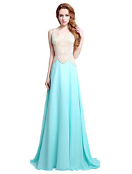 Sheath / Column V-neck Sweep / Brush Train Chiffon Formal Evening Dress with Beading