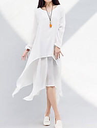 Women's Casual/Daily Simple Loose Dress,Solid Round Neck Knee-length Long Sleeve Cotton Summer Mid Rise Inelastic Medium