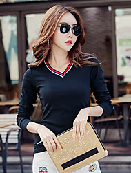 Women's t-shirt female models Slim was thin long-sleeved v-neck shirt jacket Korean students small shirt compassionate woman