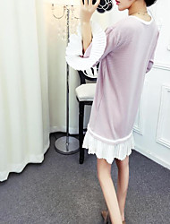 Sign new fashion spell color loose horn sleeve dress flouncing