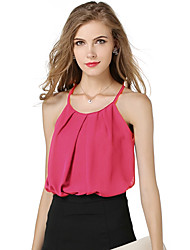 Women's Beach Holiday Sexy Simple Summer Tank TopSolid Strap Sleeveless Polyester Opaque Thin Double Layer Backing Vest