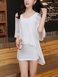 Women's Plus Size Street chic Slim Thin Chiffon Dress Solid Off Shoulder Asymmetrical False Two Short Sleeve Two Ways Wear Polyester Summer
