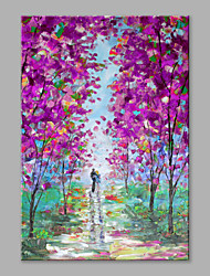100% Hand Painted Art Lovers in Purple Flower Forest Landscape Abstract Canvas Oil Painting for Home Decor