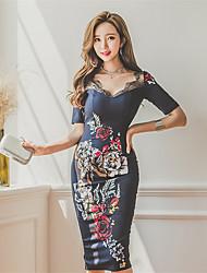 2017 coreano primavera nova impressão slim laço v-pescoço meia-manga em um vestido fino vestido de listra