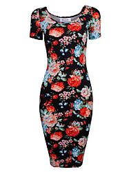 Алиэкспресс новые шею печатных короткими рукавами платье