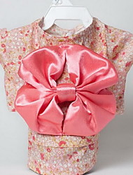 Dog Kimono Tuxedo Dog Clothes Summer Flower Cute Birthday Wedding Cosplay New Year's Black Blushing Pink