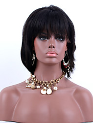 note 7a dentelle avant bob cheveux humains perruques cheveux raides noir naturel 130% de la densité du Pérou perruques de cheveux vierges