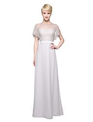 LAN TING BRIDE Floor-length Jewel Bridesmaid Dress - Elegant Short Sleeve Chiffon Lace