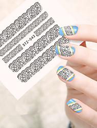 10pcs/set Fashion Sweet Style Lace Nail Art Water Transfer Decals Beautiful Lace Flower Sticker Nail DIY Beauty Design STZ-043