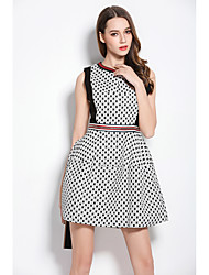 Women's Going out Casual/Daily Party A Line Sheath Dress,Geometric Round Neck Above Knee Sleeveless Rayon Polyester Spring Summer Mid Rise