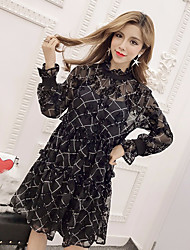 Women's Going out Loose Dress,Floral Round Neck Midi Long Sleeve Silk Summer High Rise Micro-elastic Thin