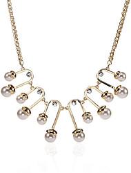 Femme Pendentif de collier Perle imitée Forme Géométrique Perle Alliage Original Logo Pendant Blanc Gris Bijoux PourMariage Soirée