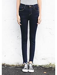 Sign Korean version of Slim thin waist dark denim pants feet pencil pants female trousers