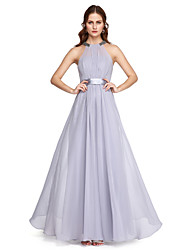 A-Line High Neck Ankle Length Charmeuse Prom Formal Evening Dress with Beading Bow(s) Sash / Ribbon Pleats by TS Couture®