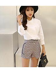 Feminino Camisa Calça Conjuntos Casual Simples Verão Outono,Cor Única Algodão Colarinho Chinês Manga Comprida Micro-Elástico