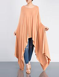 Ample Robe Femme Sortie Décontracté / Quotidien simple Chic de Rue,Couleur Pleine Col Arrondi Asymétrique Manches Longues Polyester