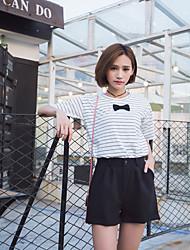 Signer à la main tridimensionnelle arc bambou coton en vrac manches courtes à rayures t-shirt femmes