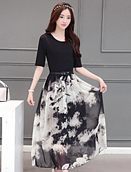 Sign 2017 new retro stitching ink ink printed chiffon dress skirt