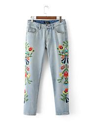 Women's Mid Rise Micro-elastic Jeans Pants,Vintage Straight Print