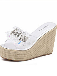 Women's Sandals Light Soles PU Spring Winter Casual Silver 3in-3 3/4in