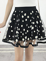 Women's High Rise Casual/Daily Beach Above Knee Skirts,Simple Boho Swing Tulle Chiffon Floral Summer Fall