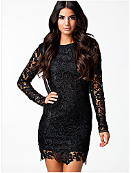 Women's Going out Club Sexy Bodycon Lace Dress,Embroidered Round Neck Above Knee Long Sleeve Silk Cotton Spring Mid Rise Micro-elastic