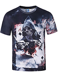 Men's Party Sports Casual/Daily Club Boho Street chic Punk & Gothic Spring Summer T-shirt,Print Round Neck Short Sleeve Polyester Thin
